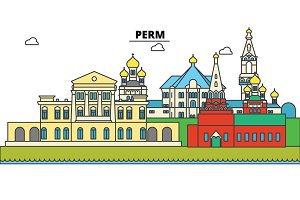 Russia, Perm. City skyline, architecture, buildings, streets, silhouette, landscape, panorama, landmarks. Editable strokes. Flat design line vector illustration concept. Isolated icons set