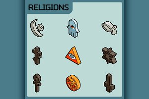 Religions color isometric icons