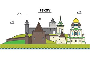 Russia, Pskov. City skyline, architecture, buildings, streets, silhouette, landscape, panorama, landmarks. Editable strokes. Flat design line vector illustration concept. Isolated icons set