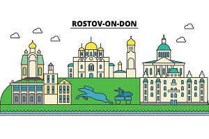 Russia, Rostov On Don. City skyline, architecture, buildings, streets, silhouette, landscape, panorama, landmarks. Editable strokes. Flat design line vector illustration concept. Isolated icons set