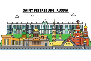 Russia, Saint Petersburg. City skyline, architecture, buildings, streets, silhouette, landscape, panorama, landmarks. Editable strokes. Flat design line vector illustration concept. Isolated icons set