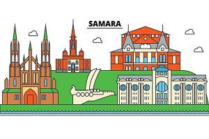 Russia, Samara. City skyline, architecture, buildings, streets, silhouette, landscape, panorama, landmarks. Editable strokes. Flat design line vector illustration concept. Isolated icons set