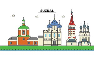 Russia, Suzdal. City skyline, architecture, buildings, streets, silhouette, landscape, panorama, landmarks. Editable strokes. Flat design line vector illustration concept. Isolated icons set