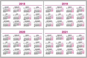 Calendar 2018, 2019, 2020, 2021