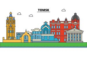 Russia, Tomsk. City skyline, architecture, buildings, streets, silhouette, landscape, panorama, landmarks. Editable strokes. Flat design line vector illustration concept. Isolated icons set