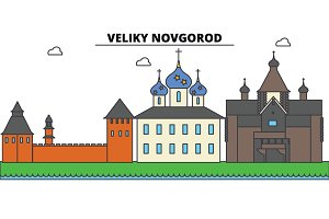 Russia, Veliki Novgorod. City skyline, architecture, buildings, streets, silhouette, landscape, panorama, landmarks. Editable strokes. Flat design line vector illustration concept. Isolated icons set