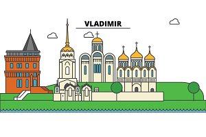 Russia, Vladimir. City skyline, architecture, buildings, streets, silhouette, landscape, panorama, landmarks. Editable strokes. Flat design line vector illustration concept. Isolated icons set