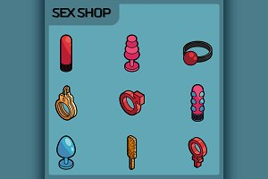 Sex shop color isometric icons