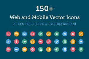 150+ Web and Mobile Vector Icons