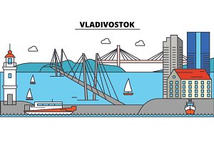 Russia, Vladivostok. City skyline, architecture, buildings, streets, silhouette, landscape, panorama, landmarks. Editable strokes. Flat design line vector illustration concept. Isolated icons set
