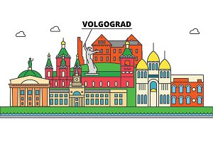Russia, Volgograd. City skyline, architecture, buildings, streets, silhouette, landscape, panorama, landmarks. Editable strokes. Flat design line vector illustration concept. Isolated icons set