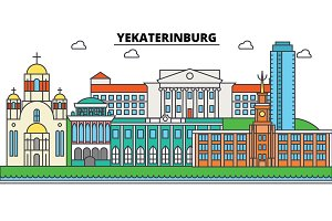 Russia, Yekaterinburg. City skyline, architecture, buildings, streets, silhouette, landscape, panorama, landmarks. Editable strokes. Flat design line vector illustration concept. Isolated icons set