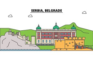 Serbia, Belgrade. City skyline, architecture, buildings, streets, silhouette, landscape, panorama, landmarks. Editable strokes. Flat design line vector illustration concept. Isolated icons set
