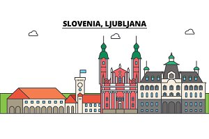 Slovenia, Ljubljana. City skyline, architecture, buildings, streets, silhouette, landscape, panorama, landmarks. Editable strokes. Flat design line vector illustration concept. Isolated icons set