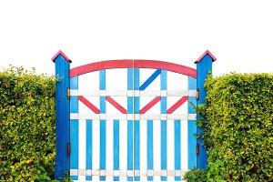 Colorful wooden garden gate isolated