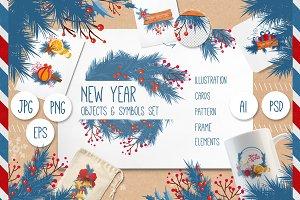 New Year Objects & Symbols Set
