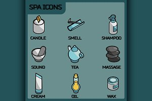 Spa color outline isometric icons