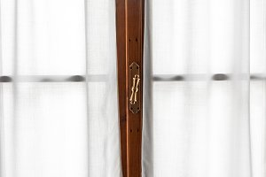 Window frame with retro handle