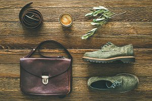 Flat-lay of woman's fall accessories