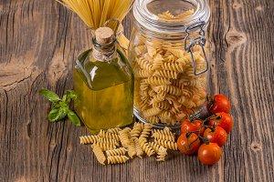 Fusilli and spaghetti