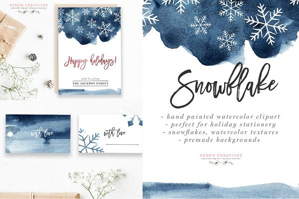 Watercolor Snowflake Winter Graphic…