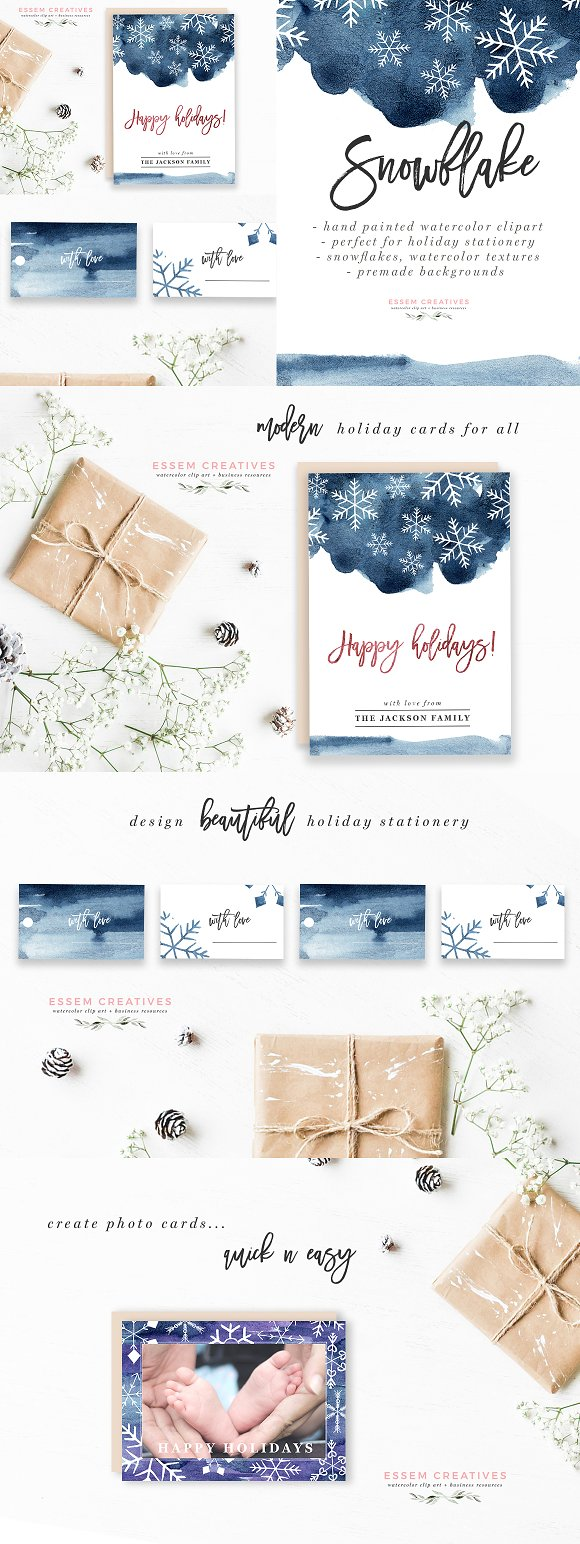 Watercolor Snowflake Winter-Graphicriver中文最全的素材分享平台