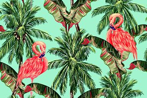 Flamingo,palm leaves,trees pattern