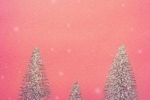 Bottle Brush Trees on Red