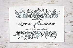 Rosemary & Lavender.Font duo+logos