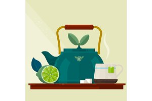 Tea time.Card with a Cup of Tea, Kettle and Lemon.Isolated vector objects. Flat illustration