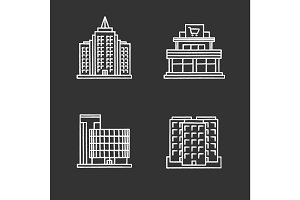 City buildings chalk icons set