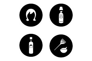 Hair care accessories glyph icons set