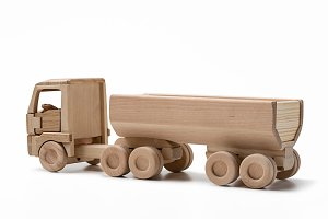 Wooden truck with trailer.