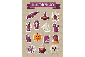 Set of halloween icons. Vector sticker