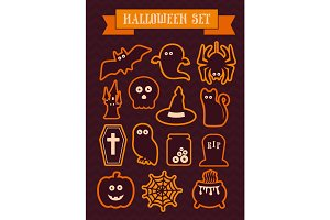 Set of halloween vector silhouette icons