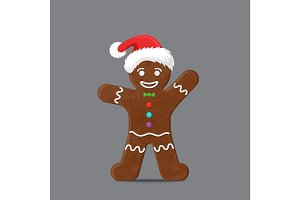 Gingerbread man in xmas hat