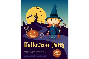 Halloween Party Design template, with witch girl