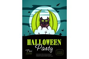 Halloween Party Design template, with bat