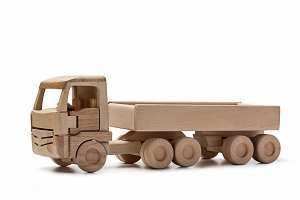 Truck, toy of wood.