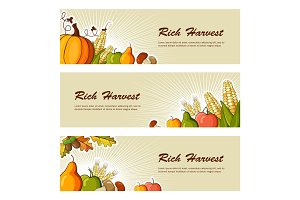 Rich Harvest flat banners set