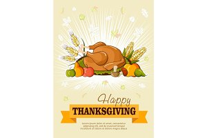 Thanksgiving day. Greeting card. Vector poster