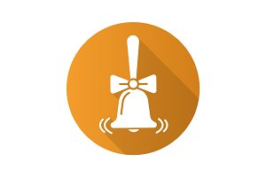 Ringing school bell with bow. Flat design long shadow glyph icon