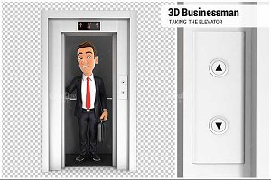 3D Businessman Taking the Elevator