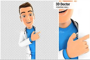 3D Doctor Pointing to Blank Wall