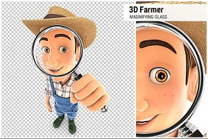 3D Farmer Magnifying Glass