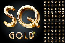 Illustration of golden 3D alphabet