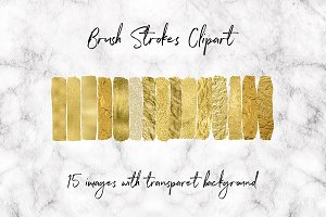 Gold Stroke Brushes Clipart