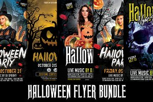 5 in 1 Halloween Flyer Bundle