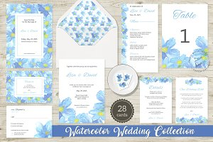 Blue Flower Watercolor Wedding Suite