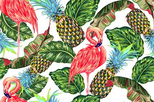 Flamingo,leaves,pineapples pattern